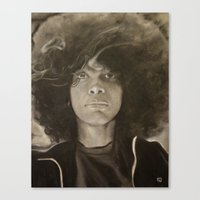 erykah badu Canvas Prints featuring Erykah Badu in Charcoal by GileOne