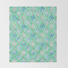 Luxury Aqua Teal Mint and Gold oriental quatrefoil pattern Throw Blanket