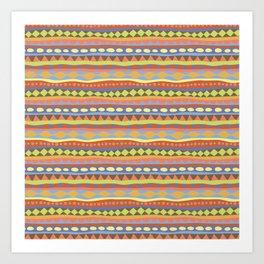 Stripey-Happy Colors Art Print