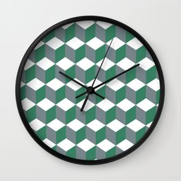 Diamond Repeating Pattern In Quetzal Green and Grey Wall Clock