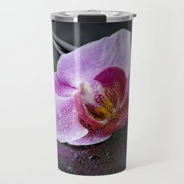 Pink orchid zen black still life Asia Travel Mug