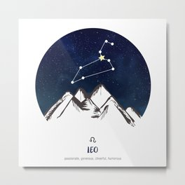 Astrology Leo Zodiac Horoscope Constellation Star Sign Watercolor Poster Wall Art Metal Print