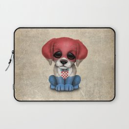 Cute Puppy Dog with flag of Croatia Laptop Sleeve