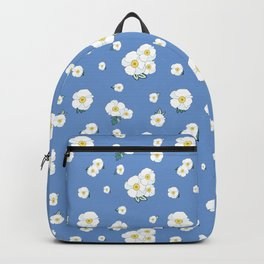 Morning Glories Pattern with Blue Background Backpack