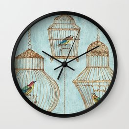 Vintage dream- Exotic colorful birds in cages on teal background Wall Clock