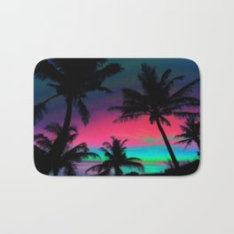 Deep Pink Palm Tree Sunset Bath Mat