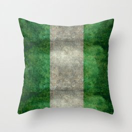 National flag of Nigeria, Vintage textured version Throw Pillow