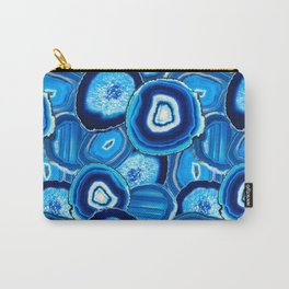 Geode Slices No.1 in Aquamarine + Sapphire Blue Carry-All Pouch