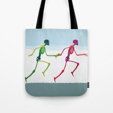 running sketeton with banana Tote Bag
