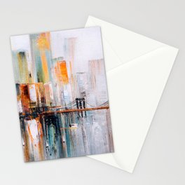 Brooklyn Bridge, New York. Abstract painting illustration Stationery Cards