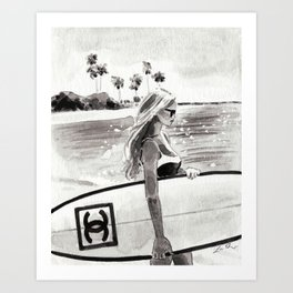 Surfer Girl in Black and White Art Print