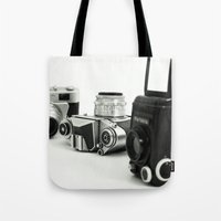 cameras Tote Bags featuring cameras by Falko Follert Art-FF77