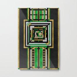 Tapestry: Emerald & Gold - Art Deco Drawing Metal Print
