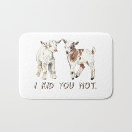 I Kid You Not: Baby Goat Watercolor Illustration Bath Mat