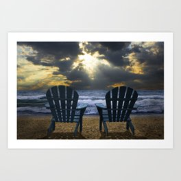 Two Adirondack Deck Chairs on the Beach with Waves crashing on the Shore Art Print