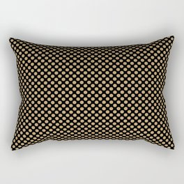 Black and Pale Gold Polka Dots Rectangular Pillow
