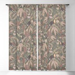 Vintage tropical birds foliage Blackout Curtain