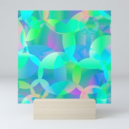 Abstract soap of blue molecules and bubbles on a shiny background. Mini Art Print