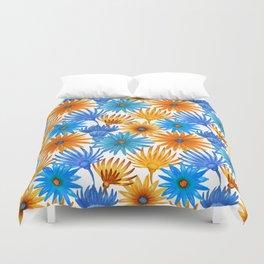 Hand painted orange sky blue watercolor floral Duvet Cover