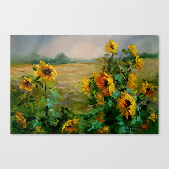Sunflowers in a field Canvas Print