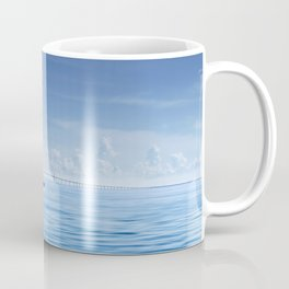 Fishing boat in front of Sunshine Skyway Coffee Mug