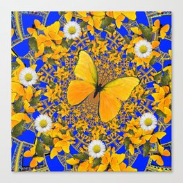 BUTTERFLY GREEN FROGS WHITE DAISIES BLUE MANDALA Canvas Print