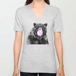 Bubble Gum Big Bear Black and White Unisex V-Neck