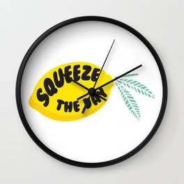 Squeeze The Day Lemon Wall Clock
