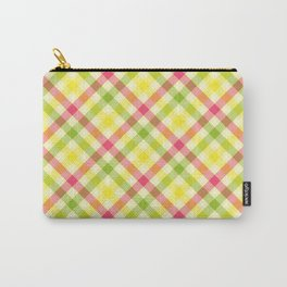 Yellow, Green and Pink Diagonal Plaid Pattern Carry-All Pouch