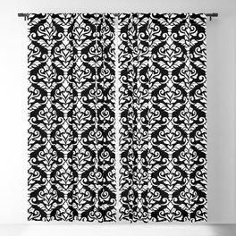 Cresta Damask Pattern White on Black Blackout Curtain
