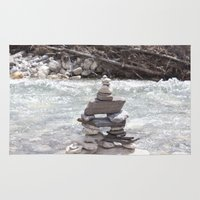 allyson johnson Area & Throw Rugs featuring Johnson Canyon Inukshuk by RMK Photography