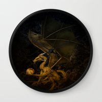 dragon Wall Clocks featuring dragon by karens designs