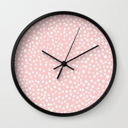 Rosequartz -marble pantone color art print decor minimal pastel pink girly hipster dots dot Wall Clock