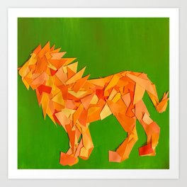 Lion collage of paint samples Art Print