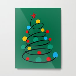 Christmas Tree Minimal Design Art Red Blue Green Metal Print