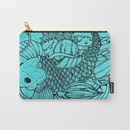 Koi, Poppy, and Squash Blossom Carry-All Pouch