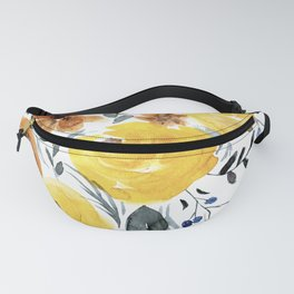 Yellow Peonies and Wildflowers (on white) Fanny Pack