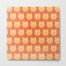 Here Kitty Kitty Cat Print Seamless Pattern Metal Print