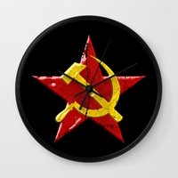 soviet Wall Clocks featuring Soviet symbol by Emma Harckham