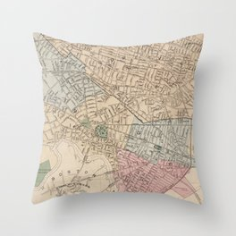 Vintage Map of Cambridge Massachusetts (1891) Throw Pillow