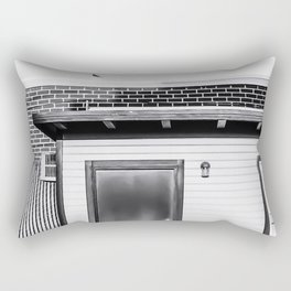 wood building with brick building background in black and white Rectangular Pillow
