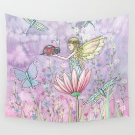A Friendly Encounter Fairy and Ladybug Art by Molly Harrison Wall Tapestry