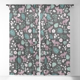 Little Leopard cub jungle forest palm tree pink Sheer Curtain
