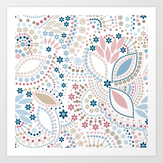 Colorful pattern of pastel light colors with beads Art Print