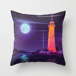 Midnight Lighthouse in Midcentury Illustration Style Throw Pillow