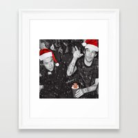 larry stylinson Framed Art Prints featuring Larry Stylinson Funny Cookie Christmas B&W by girllarriealmighty