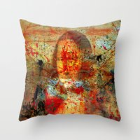 da vinci Throw Pillows featuring Leonardo da Vinci Abstract  by  Agostino Lo Coco