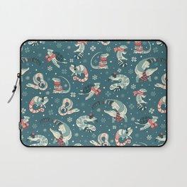 Winter herps in dark blue Laptop Sleeve