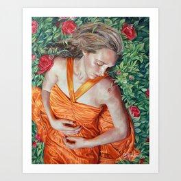 A Garland of Slumber, oil painting portrait of sleeping beauty in roses, orange dress, summer, angel Art Print