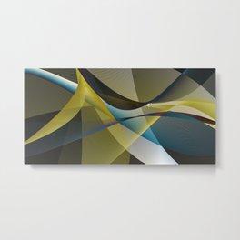 lines & shades art digital curry cyan Metal Print